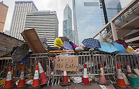 Barricades are seen in Hong Kong's Central district on day three of the mass civil disobedience campaign Occupy Central, Hong Kong, China, 30 September 2014.