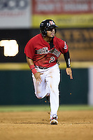Eduard Pinto (2) of the Hickory Crawdads hustles towards third base against the Charleston RiverDogs at L.P. Frans Stadium on August 25, 2015 in Hickory, North Carolina.  The Crawdads defeated the RiverDogs 7-4.  (Brian Westerholt/Four Seam Images)