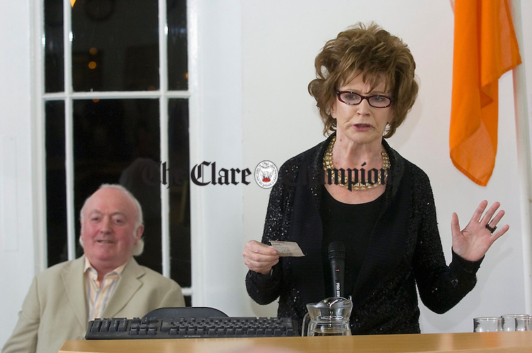 Writer Edna O Brien speaking at the Clare County Council civic reception, held in her honour, in Ennis. Looking on is county librarian Noel Crowley. Photograph by John Kelly