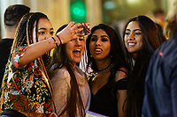 Pictured: Four young women take a selfie. Sunday 31 December 2017 and 01 January 2018<br /> Re: New Year revellers in Wind Street, Swansea, Wales, UK
