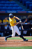 Michigan Wolverines center fielder Jonathan Engelmann (2) hits a single during a game against Army West Point on February 17, 2018 at Tradition Field in St. Lucie, Florida.  Army defeated Michigan 4-3.  (Mike Janes/Four Seam Images)