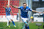 St Johnstone v Aberdeen…22.04.16  McDiarmid Park, Perth<br />Steven MacLean celebrates his goal<br />Picture by Graeme Hart.<br />Copyright Perthshire Picture Agency<br />Tel: 01738 623350  Mobile: 07990 594431