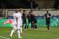 SAN JOSE, CA - OCTOBER 28: Chris Wondolowski #8 of the San Jose Earthquakes celebrates scoring with teammates during a game between Real Salt Lake and San Jose Earthquakes at Earthquakes Stadium on October 28, 2020 in San Jose, California.