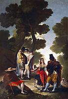 Goya y Lucientes, Francisco Jose de (1746-1828)<br /> The Pretty Woman and the Masked Men (The Road of Andalusia) (oil on canvas), oil on canvas<br /> Real Monasterio de El Escorial, El Escorial, Spain
