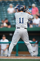 West Michigan Whitecaps designated hitter Pat Leyland #11 during a Midwest League game against the South Bend Silver Hawks at Coveleski Stadium on August 15, 2012 in South Bend, Indiana.  West Michigan defeated South bend 7-1.  (Mike Janes/Four Seam Images)