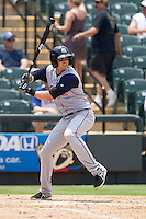 Colorado Springs Sky Sox shortstop Tommy Manzella (4) at bat against the Round Rock Express in the Pacific Coast League baseball game on May 19, 2013 at the Dell Diamond in Round Rock, Texas. Colorado Springs defeated Round Rock 3-1 in 10 innings. (Andrew Woolley/Four Seam Images).
