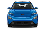Car photography straight front view of a 2021 Hyundai Kona-EV Sky 5 Door SUV Front View