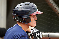 Mississippi Braves first baseman Corban Joseph (2) during practice before a game against the Mobile BayBears on April 28, 2015 at Hank Aaron Stadium in Mobile, Alabama.  The game was suspended after the top of the second inning with Mobile leading 3-0, the BayBears went on to defeat the Braves 6-1 the following day.  (Mike Janes/Four Seam Images)
