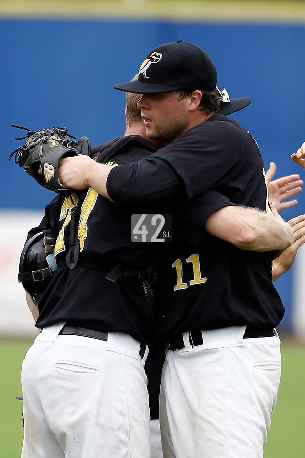 10 September 2011: Starting pitcher Jos de Jong of L&D Amsterdam Pirates celebrates the win during game 4 of the 2011 Holland Series won 6-2 by L&D Amsterdam Pirates over Vaessen Pioniers, in Amsterdam, Netherlands.