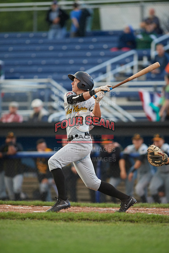 West Virginia Black Bears shortstop Andrew Walker (13) at bat during a game against the Batavia Muckdogs on June 24, 2017 at Dwyer Stadium in Batavia, New York.  The game was suspended in the bottom of the third inning and completed on June 25th with West Virginia defeating Batavia 6-4.  (Mike Janes/Four Seam Images)