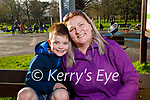 Patrick and Inga Hobbert enjoying the playground in the Tralee town park on Friday.