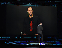 "HOLLYWOOD, CA - DECEMBER 10: Keanu Reeves presents the award for ""Best Game Direction"" on ""The Game Awards 2020"" in Hollywood, California on December 10, 2020. (Photo by Frank Micelotta/PictureGroup)"