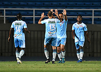 CALI - COLOMBIA – 22 - 09 - 2017: Los jugadores de Jaguares F.C., celebran el gol anotado a Cortulua durante partido entre Cortulua y Jaguares F.C., por la fecha 13 de la Liga Aguila II 2017 jugado en el estadio Pascual Guerrero de la ciudad de Cali. / The players of Jaguares F.C., celebate a scored goal to Cortulua during between of a match Cortulua and Jaguares F.C., for the date 13th of the Liga Aguila II 2017 played at the Pascual Guerrero stadium in Cali city. Photo: VizzorImage / Luis Ramirez / Staff.