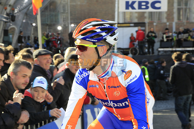Rabobank's Lars Boom (NED) arrives at sign on before the start of the 96th edition of The Tour of Flanders 2012 in Bruges Market Square, running 256.9km from Bruges to Oudenaarde, Belgium. 1st April 2012. <br /> (Photo by Eoin Clarke/NEWSFILE).