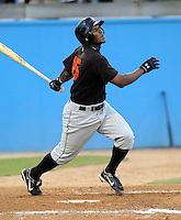 June 20, 2008: Infielder Miguel Abreu (15) of the Frederick Keys, Carolina League affiliate of the Baltimore orioles, in a game against the Potomac Nationals at G. Richard Pfitzner Stadium in Woodbridge, Va. Photo by:  Tom Priddy/Four Seam Images