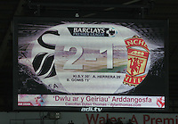SWANSEA, WALES - FEBRUARY 21: The final score on the scoreboard at the end of the Barclays Premier League match between Swansea City and Manchester United at Liberty Stadium on February 21, 2015 in Swansea, Wales.