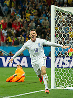 Wayne Rooney of England celebrates scoring a goal after making it 1-1