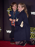 Julie Delpy and son Leo Streitenfeld<br />  at Star Wars: The Force Awakens World Premiere held at El Capitan Theatre in Hollywood, California on December  14,2015                                                                   Copyright 2015Hollywood Press Agency