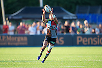 20130803 Copyright onEdition 2013 ©<br />Free for editorial use image, please credit: onEdition.<br /><br />Jeremy Manning of Harlequins 7s takes a high pass during the J.P. Morgan Asset Management Premiership Rugby 7s Series.<br /><br />The J.P. Morgan Asset Management Premiership Rugby 7s Series kicks off for the fourth season on Thursday 1st August with Pool A at Kingsholm, Gloucester with Pool B being played at Franklin's Gardens, Northampton on Friday 2nd August, Pool C at Allianz Park, Saracens home ground, on Saturday 3rd August and the Final being played at The Recreation Ground, Bath on Friday 9th August. The innovative tournament, which involves all 12 Premiership Rugby clubs, offers a fantastic platform for some of the country's finest young athletes to be exposed to the excitement, pressures and skills required to compete at an elite level.<br /><br />The 12 Premiership Rugby clubs are divided into three groups for the tournament, with the winner and runner up of each regional event going through to the Final. There are six games each evening, with each match consisting of two 7 minute halves with a 2 minute break at half time.<br /><br />For additional images please go to: http://www.w-w-i.com/jp_morgan_premiership_sevens/<br /><br />For press contacts contact: Beth Begg at brandRapport on D: +44 (0)20 7932 5813 M: +44 (0)7900 88231 E: BBegg@brand-rapport.com<br /><br />If you require a higher resolution image or you have any other onEdition photographic enquiries, please contact onEdition on 0845 900 2 900 or email info@onEdition.com<br />This image is copyright the onEdition 2013©.<br /><br />This image has been supplied by onEdition and must be credited onEdition. The author is asserting his full Moral rights in relation to the publication of this image. Rights for onward transmission of any image or file is not granted or implied. Changing or deleting Copyright information is illegal as specified in the Copyright, Design and Patents Act 1988. If you