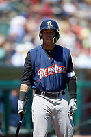 Scranton/Wilkes-Barre RailRiders third baseman Cito Culver (0) on deck on deck during a game against the Rochester Red Wings on June 7, 2017 at Frontier Field in Rochester, New York.  Scranton defeated Rochester 5-1.  (Mike Janes/Four Seam Images)