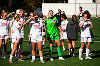 MONTCLAIR, NJ - OCTOBER 3: Devon Kerr #25 of the Washington Spirit and Paige Nielsen #14 of the Washington Spirit pose with teammates post-game during a game between Washington Spirit and Sky Blue FC at MSU Soccer Park at Pittser Field on October 3, 2020 in Montclair, New Jersey.