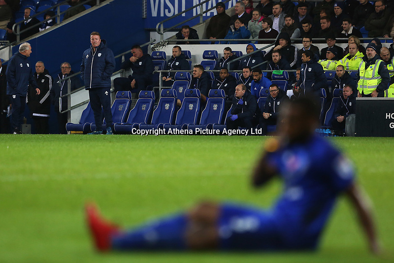 Cardiff City first team coach Ronnie Jepson watches on as Junior Hoilett of Cardiff City sits down after injurying his leg during the Sky Bet Championship match between Cardiff City and Brentford at the Cardiff City Stadium, Wales, UK. Saturday 18 November 2017