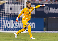 CHARLOTTE, NC - OCTOBER 3: Ashlyn Harris #18 of the United States yells during a game between Korea Republic and USWNT at Bank of America Stadium on October 3, 2019 in Charlotte, North Carolina.