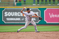 Kane County Cougars second baseman Eddie Hernandez (14) throws to first base during a Midwest League game against the Fort Wayne TinCaps at Parkview Field on May 1, 2019 in Fort Wayne, Indiana. Fort Wayne defeated Kane County 10-4. (Zachary Lucy/Four Seam Images)