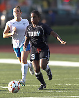 New York Fury forward Jasmyne Spencer (3) on the attack. In a Women's Premier Soccer League Elite (WPSL) match, the Boston Breakers defeated New York Fury, 2-0, at Dilboy Stadium on June 23, 2012.