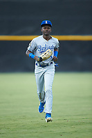 Burlington Royals outfielder Diego Hernandez (4) jogs off the field between innings of the game against the Pulaski Yankees at Calfee Park on September 1, 2019 in Pulaski, Virginia. The Royals defeated the Yankees 5-4 in 17 innings. (Brian Westerholt/Four Seam Images)