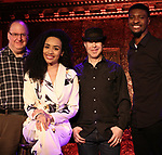 """Eugene Gwozdz, Nicole Vanessa Ortiz, Bosco Sheff and Eric Brown performing a press preview of  """"Becoming Her : A Diva's Tribute""""  at Feinsteins/54 Below on February 21, 2019 in New York City."""