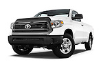 Stock pictures of low aggressive front three quarter view of a 2017 Toyota Tundra 5.7 Auto SR Regular Cab 2 Door Truck Low Aggressive