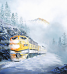"""Rio Grande Railroad F7's pulling a passenger train through a mountain pass in snow and fog. Oil on canvas, 20"""" x 22""""."""