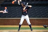 Jack Weiller (3) of the Virginia Cavaliers at bat against the Wake Forest Demon Deacons at David F. Couch Ballpark on May 19, 2018 in  Winston-Salem, North Carolina. The Demon Deacons defeated the Cavaliers 18-12. (Brian Westerholt/Four Seam Images)