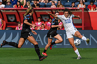 BRIDGEVIEW, IL - JULY 18: Sofia Huerta #11 of the OL Reign plays the ball during a game between OL Reign and Chicago Red Stars at SeatGeek Stadium on July 18, 2021 in Bridgeview, Illinois.