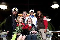 "LOS ANGELES - DEC 30:  Back Row:  L -R, Gavin MacLeod, Fred Grandy, Bernie Kopell, Ted Lange  Front row (L-R) Jill Whelan, Lauren Tewes at the Original ""Love Boat"" Cast decorates Princess Cruises' Rose Parade Float at a Rosemont Pavilion on December 30, 2014 in Pasadena, CA"