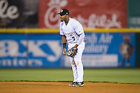 Hickory Crawdads second baseman Andy Ibanez (7) on defense against the Rome Braves at L.P. Frans Stadium on May 12, 2016 in Hickory, North Carolina.  The Braves defeated the Crawdads 3-0.  (Brian Westerholt/Four Seam Images)