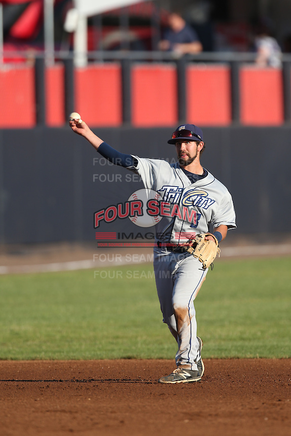Peter Van Gassen (3) of the Tri-City Dust Devils makes a throw during a game against the Vancouver Canadians at Nat Bailey Stadium on July 23, 2015 in Vancouver, British Columbia. Tri-City defeated Vancouver, 6-4. (Larry Goren/Four Seam Images)