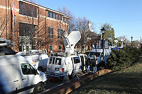 CHARLOTTESVILLE, VA - FEBRUARY 13: Media trucks lines the street adjacent to the Charlottesville Circuit courthouse for the George Huguely trial. Huguely was charged in the May 2010 death of his girlfriend Yeardley Love. She was a member of the Virginia women's lacrosse team. Huguely pleaded not guilty to first-degree murder. (Credit Image: © Andrew Shurtleff
