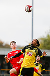 An aerial duel early in the match. Hucknall Town v Heanor Town, 17th October 2020, at the Watnall Road Ground, East Midlands Counties League. Photo by Paul Thompson.