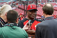 Team USA Ken Griffey Sr conducts interviews during practice before the MLB All-Star Futures Game on July 12, 2015 at Great American Ball Park in Cincinnati, Ohio.  (Mike Janes/Four Seam Images)