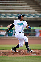 Lynchburg Hillcats designated hitter Emmanuel Tapia (28) follows through on a swing during the first game of a doubleheader against the Potomac Nationals on June 9, 2018 at Calvin Falwell Field in Lynchburg, Virginia.  Lynchburg defeated Potomac 5-3.  (Mike Janes/Four Seam Images)