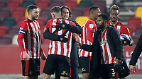 Brentford Manager, Thomas Frank, celebrates with Vitaly Janelt at the final whistle after winning 7-2 during Brentford vs Wycombe Wanderers, Sky Bet EFL Championship Football at the Brentford Community Stadium on 30th January 2021