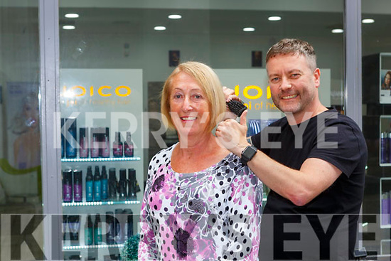 Sheila Clifford  Killorglin gets some final touches from Sean Taaffe after getting her hair done on Monday
