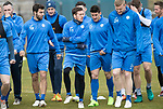 St Johnstone Training…14.04.17<br />Richie Foster and Danny Swanson pictured with Brian Easton during training at McDiarmid Park this morning ahead of tomorrow's game against Aberdeen.<br />Picture by Graeme Hart.<br />Copyright Perthshire Picture Agency<br />Tel: 01738 623350  Mobile: 07990 594431