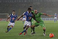 BOGOTA -COLOMBIA, 28-02-2017. Harold Mosquera (L) player of Millonarios  fights for the ball with Andres Correa (R) player of Equidad during match for the date 6 of the Aguila League I 2017 played at Nemesio Camacho El Campin stadium . Photo:VizzorImage / Felipe Caicedo  / Staff