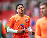 11th September 2021;  Bet365 Stadium, Stoke, Staffordshire, England; EFL Championship football, Stoke City versus Huddersfield Town; Levi Colwill of Huddersfield Town during the warm up