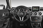 Steering wheel view of 2015 Mercedes Benz GLA-Class 250 5 Door SUV Stock Photo