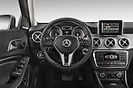 Steering wheel view of 2015 Mercedes Benz GLA-Class 250 5 Door SUV Stock Photo