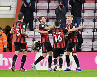 Sam Surridge of AFC Bournemouth right is congratulated on scoring the fifth goal during AFC Bournemouth vs Huddersfield Town, Sky Bet EFL Championship Football at the Vitality Stadium on 12th December 2020